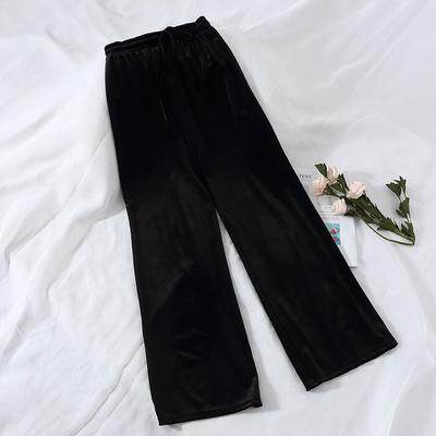 (PRE ORDER) FASHION RETRO GOLD VELVET WIDE LEG LOOSE COMFORTABLE CASUAL PANTS