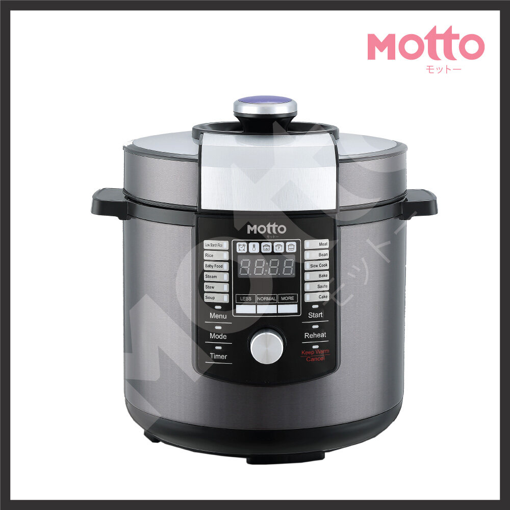 【Ready Stock In Malaysia】Motto Latest Japan Technology Multi Cook Function Stainless Steel Pot (6 Litre) Low Starch Digifit Pressure Cooker
