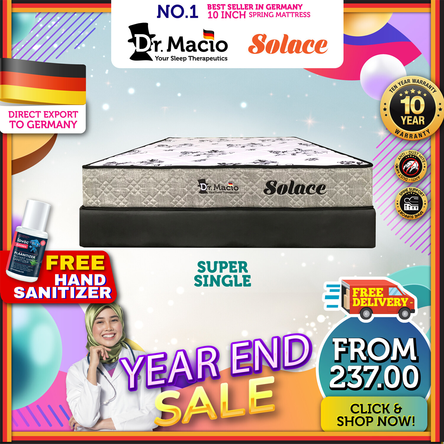 [ Free Shipping ] Dr Macio Solace  (Single) (Super Single) (Queen) (King) Mattress Ready Stock / Tilam Dr Macio 10 years warranty anti dustmite FREE gift [ Fast Delivery ] [ Deliver in CMCO ]