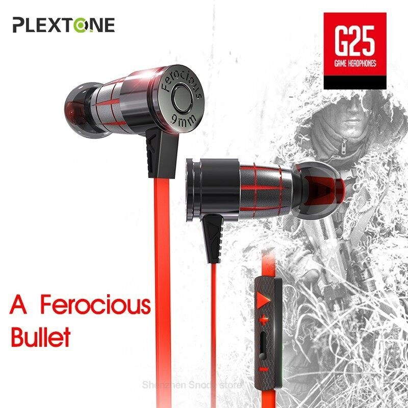 PLEXTONE G25 Gaming Head SET With Mic In-ear Wired Magnetic Stereo Earbuds Computer Earphones For - BLACK / RED / GREEN