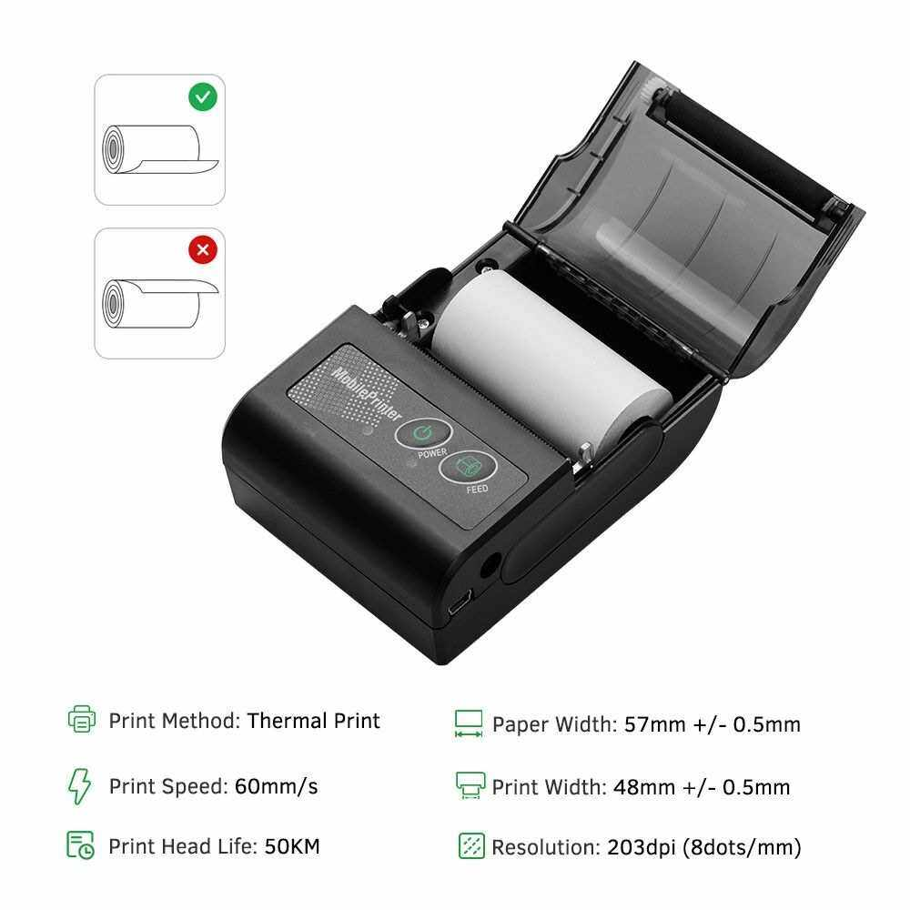 Portable Wireless BT 58mm Thermal Receipt Printer Mini Personal Bill Mobile Printer Compatible with ESC/POS Print Commands Set for iOS Android Windows for Restaurant Supermarket Retail Store Business (Black)
