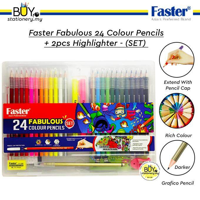 Faster Fabulous 24 Colour Pencils Set A + 2pcs Highlighter- Box