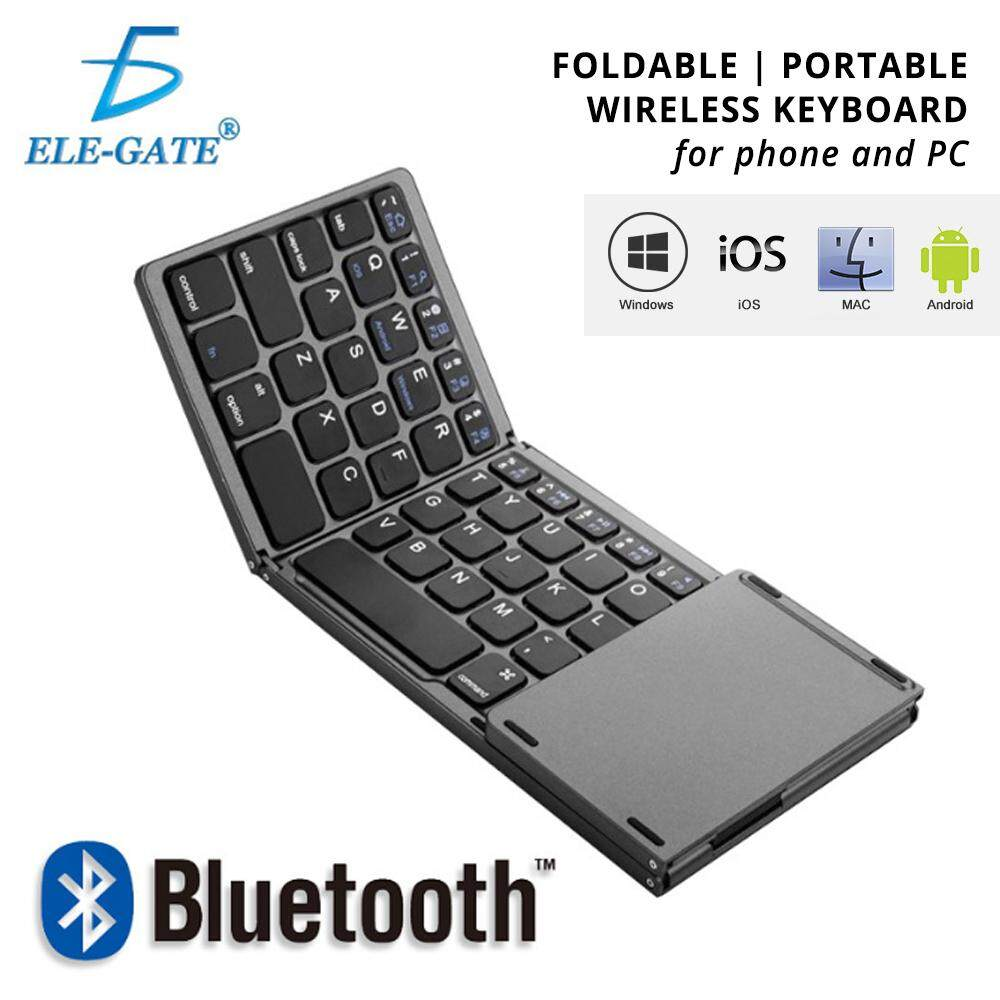 1Foldable Bluetooth Keyboard QWERTY Touchpad USB Charging Portable Wireless for Phone Tablet