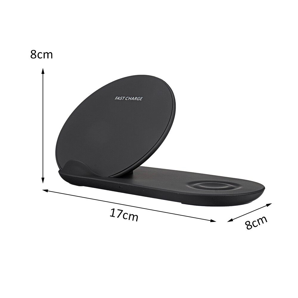 Chargers - 2 in 1 10W WIRELESS Fast Smart Phone Charger Station For iWatch iPh Samsung - WHITE / BLACK