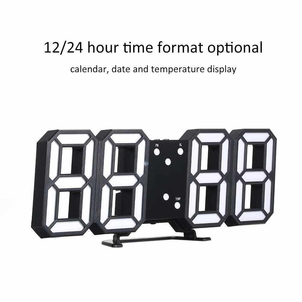 3D LED Digital Clock Glowing Night Mode Brightness Adjustable Electronic Table Clock 24/12 Hour Display Alarm Clock Wall Hanging (Black & White)