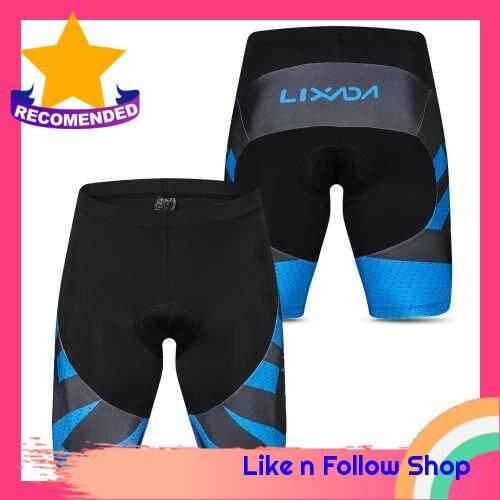 Lixada Men\'s Cycling Shorts 4D Gel Padded Bicycle Riding Half Pants Bike Biking Tights (blue)
