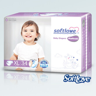 SoftLove Platinum Baby Diapers / XL size - 34pcs