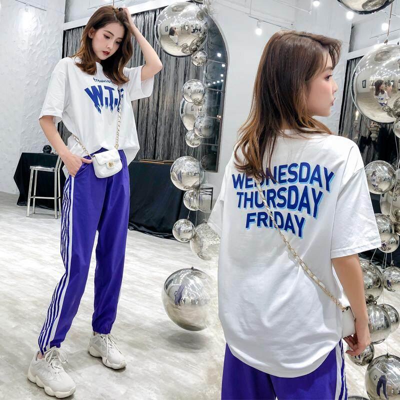 (Pre Order 14 days) JYS Fashion Korean Style Women Sport Wear Set Collection 540 - 8598 white top black pant