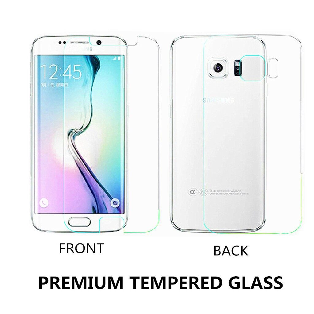 iPh Tempered Glass - Front + Back Tempered Glass Screen Protector Protective Film For Samsung S6 - Screen Protectors