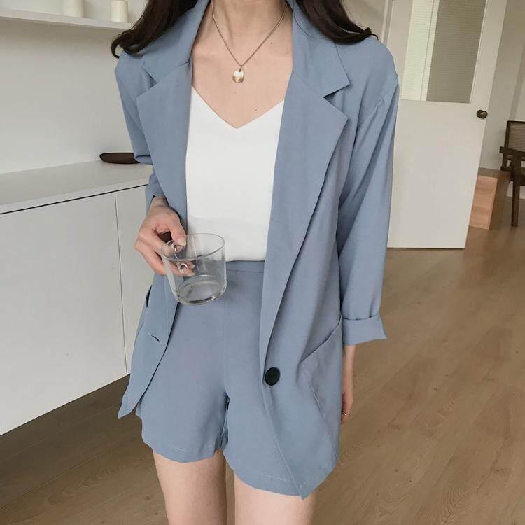 (Pre Order14 Days  JYS Fashion Korean Style Women Blazer +BottomSetCollection515-4382col515-4382-Blue -L