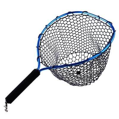 Rubber Mesh Fishing Net with Metal Clip (BLACK)
