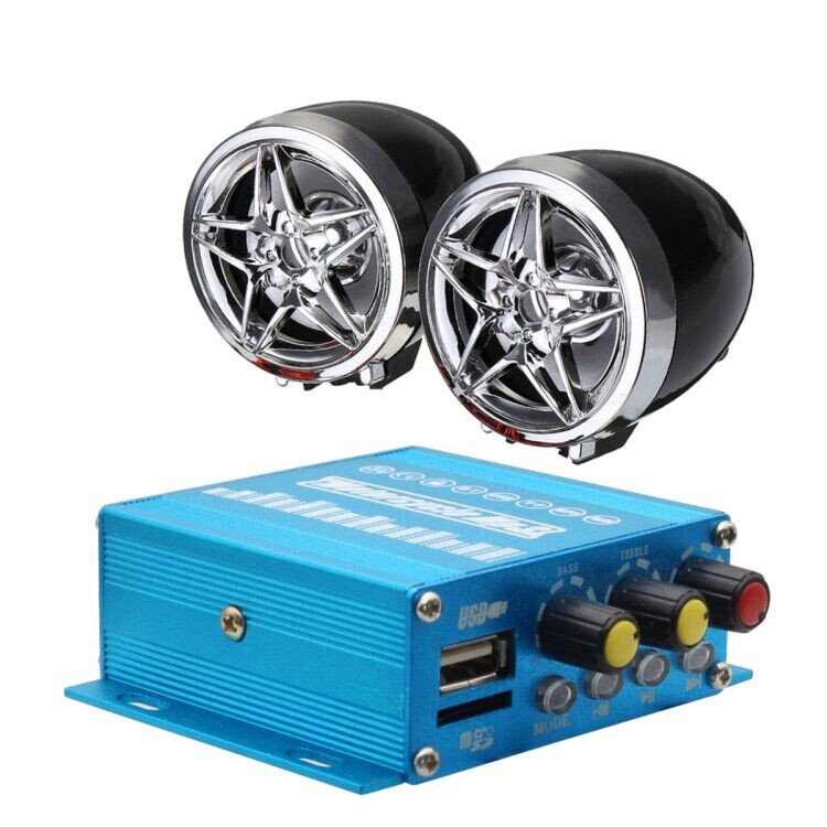 Moto Accessories - 3 Inch Motorcycle Speaker Horns Audio BLUETOOTH USB MP3 FM Player mhestore2009 - Motorcycles, Parts