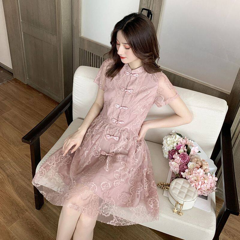 (PRE ORDER) WOMEN LOOSE CHEONGSAM BUD SILK GAUZE DRESS