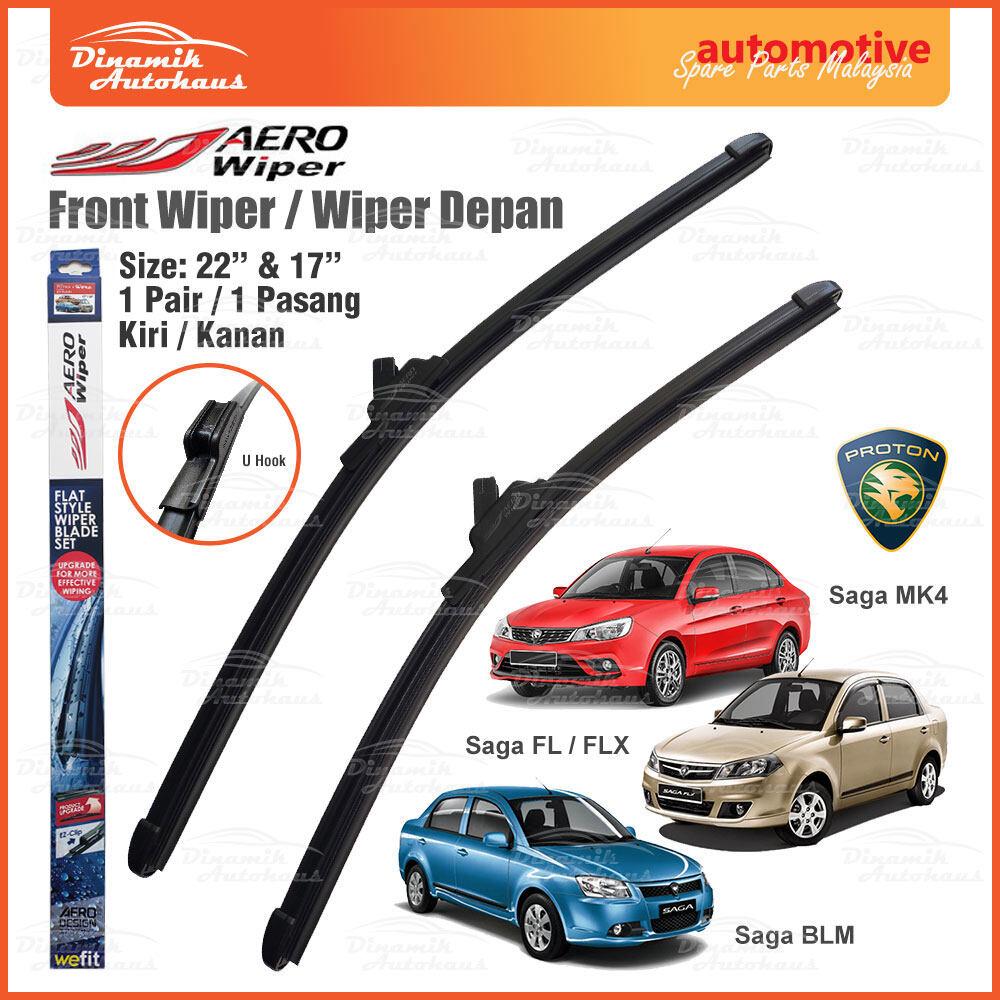 """Proton Saga VVT MK4 / BLM / FL / FLX Car Front Windshield / Windscreen Flat Wiper Blade Size 22"""" & 17"""" - AERO Wiper ARO2217"""