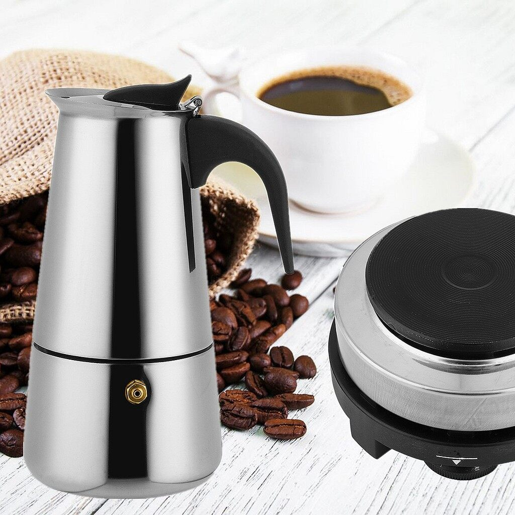 Coffee Machines and Accessories - 9 Cups 450ml Stainless Steel Moka Coffee Maker Pot Percolator + Electric Stove - Small Kitchen Appliances