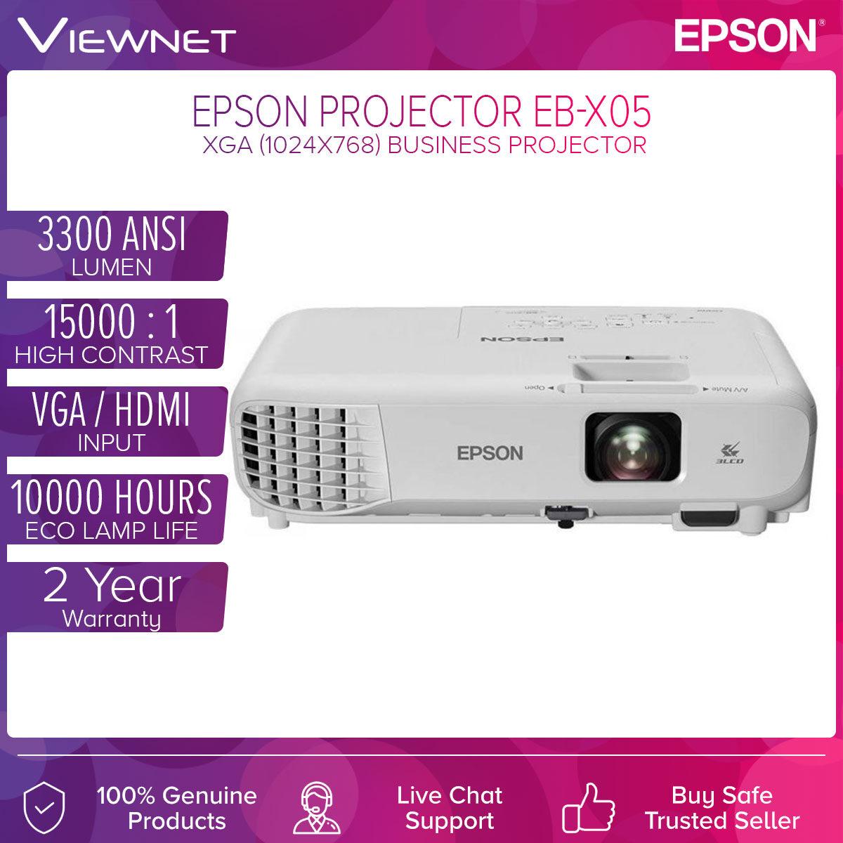 Epson 3LCD XGA Projector (EB-X05) ,(1024x768),, 3300 Lumens (USB/VGA/HDMI), Wireless