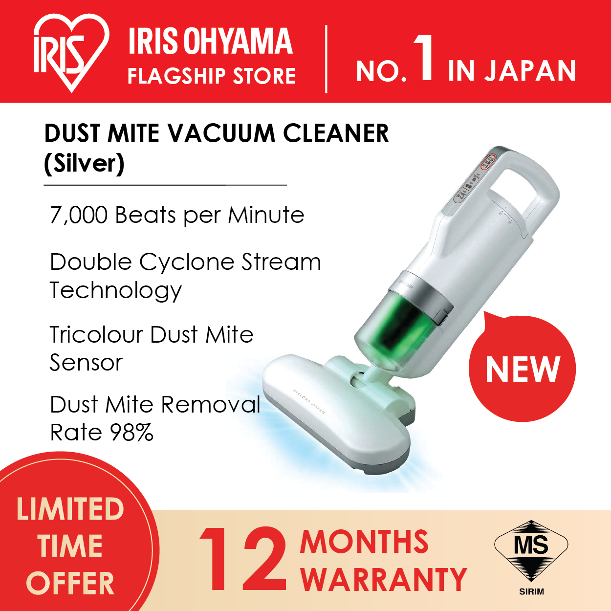 IRIS OHYAMA IC-FAC3 Handheld Dust Mites Bedsheet Vacuum Cleaner (Vibration 7,000 Times / minute) (12 Months Warranty) - SILVER Color