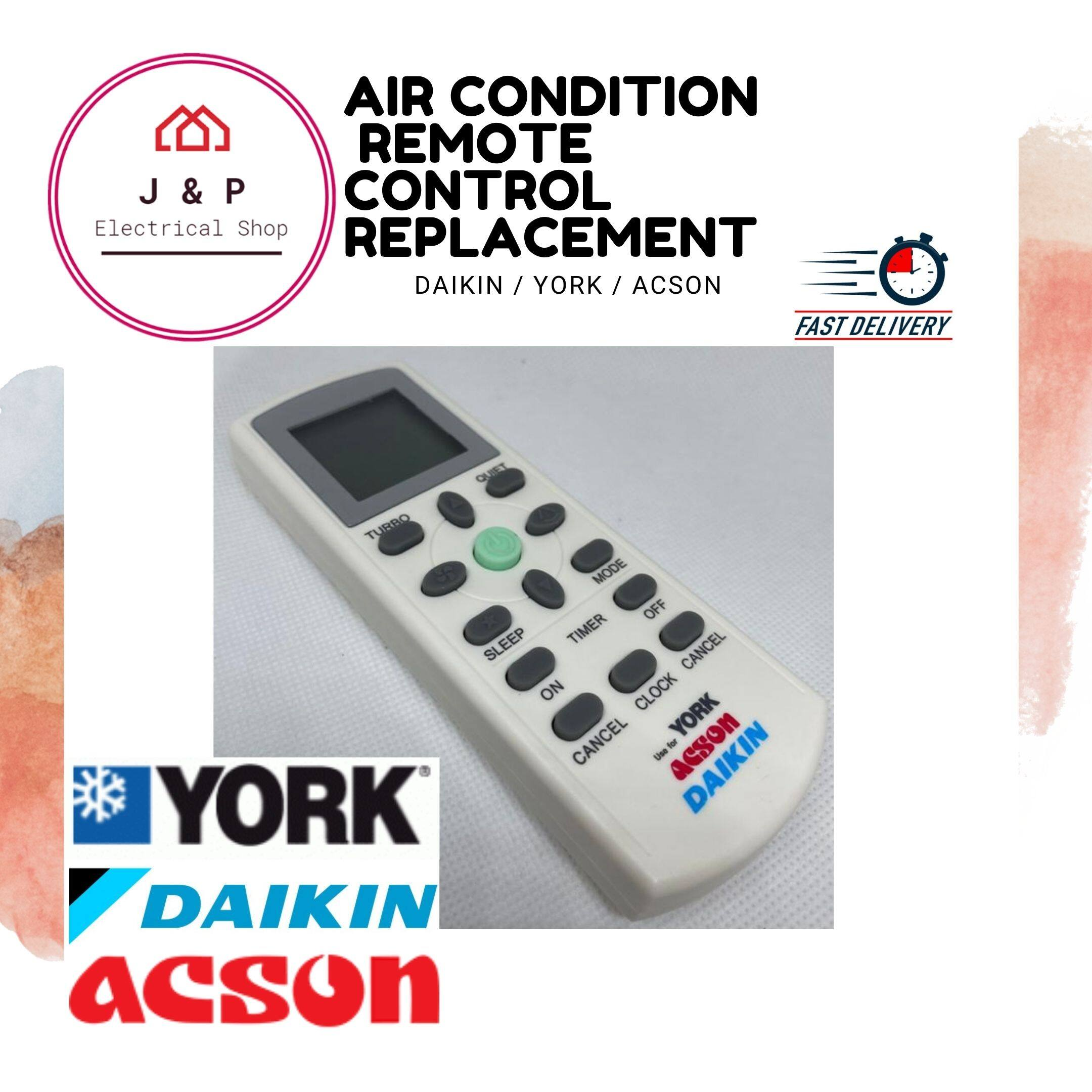 YORK /DAIKIN/ ACSON Air-Condition Remote Control Replacement ( OEM Product) [Ready Stock 现货]1569760781-1603614671323-0