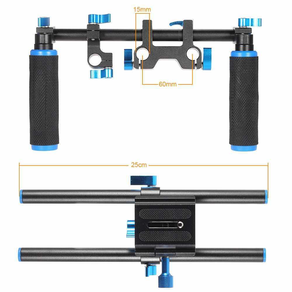 """Aluminum Alloy Video Shoulder Mount Support Rig Stablizer with 1/4"""" Screw Mount Slider 15mm Rod Double-hand Handgrip Set C-shaped Holder for DSLR Camera Camcorder (Standard)"""