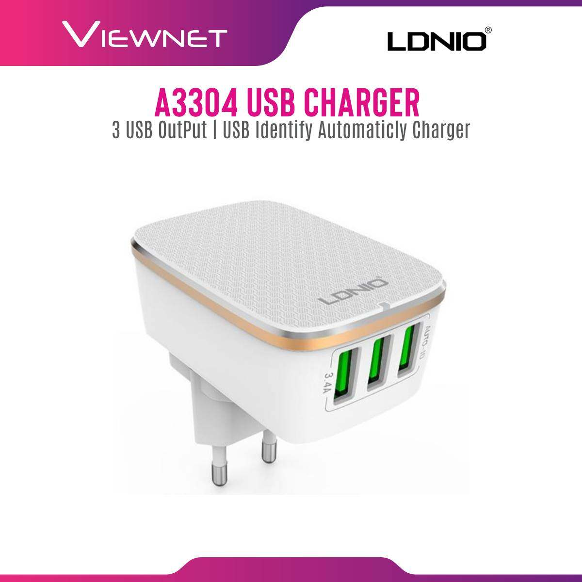 Ldnio Rapid Charge 3 USB Port With Micro USB Cable (A3304), Input:100-240V, 50-60Hz, Output: 5V/3.4