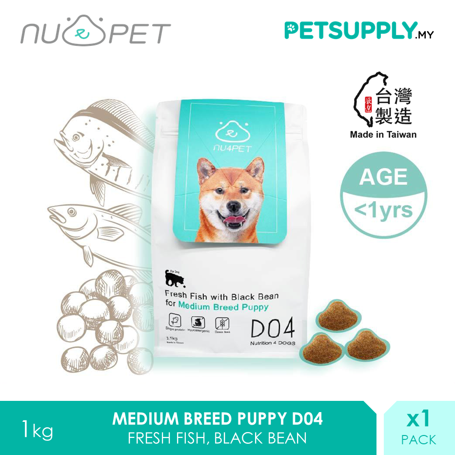 NU4 PET D04 Fresh Fish Black Bean Medium Breed Puppy Probiotic Dry Dog Food 1.5kg [makanan anjing - Petsupply.my]