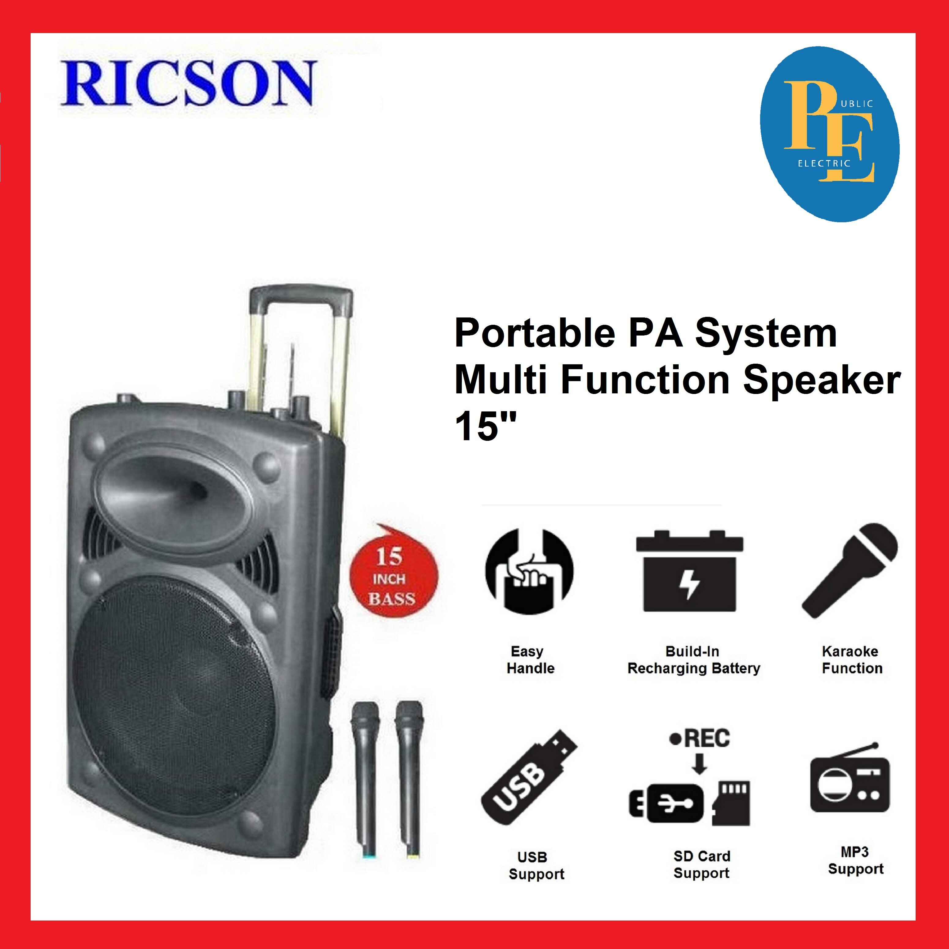 "Ricson Portable PA System Multi Function Speaker 15"" - A-15BT"