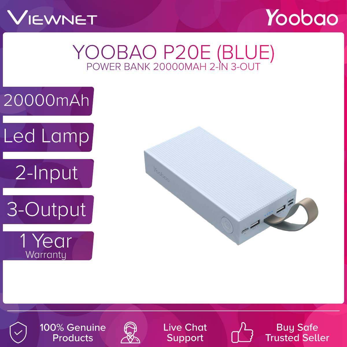 Yoobao P20E 20000mAh Portable Fast Charge 2.1A Power bank With Build-In LED Lamp, Micro Lightning Type C input Dual Output