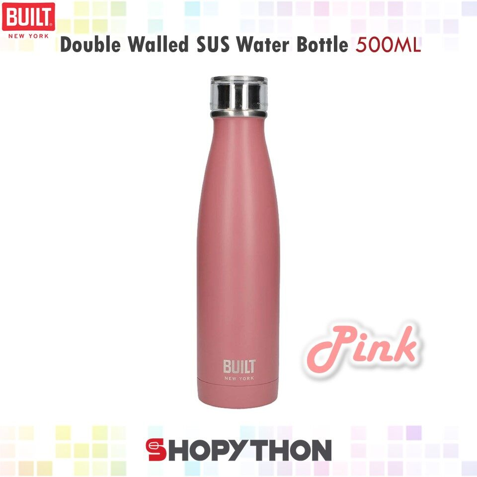 Built NY Double Walled Stainless Steel Water Bottle 500ml (Pink) Insulated Thermal Flask Leakproof Cap Durable Thermos