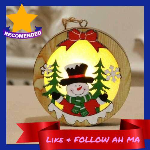 Best Selling Christmas Hanging Ornaments Star Round Santa Snowman LED Light Wooden Pendant Christmas Decorations Snowman Round Style (2)