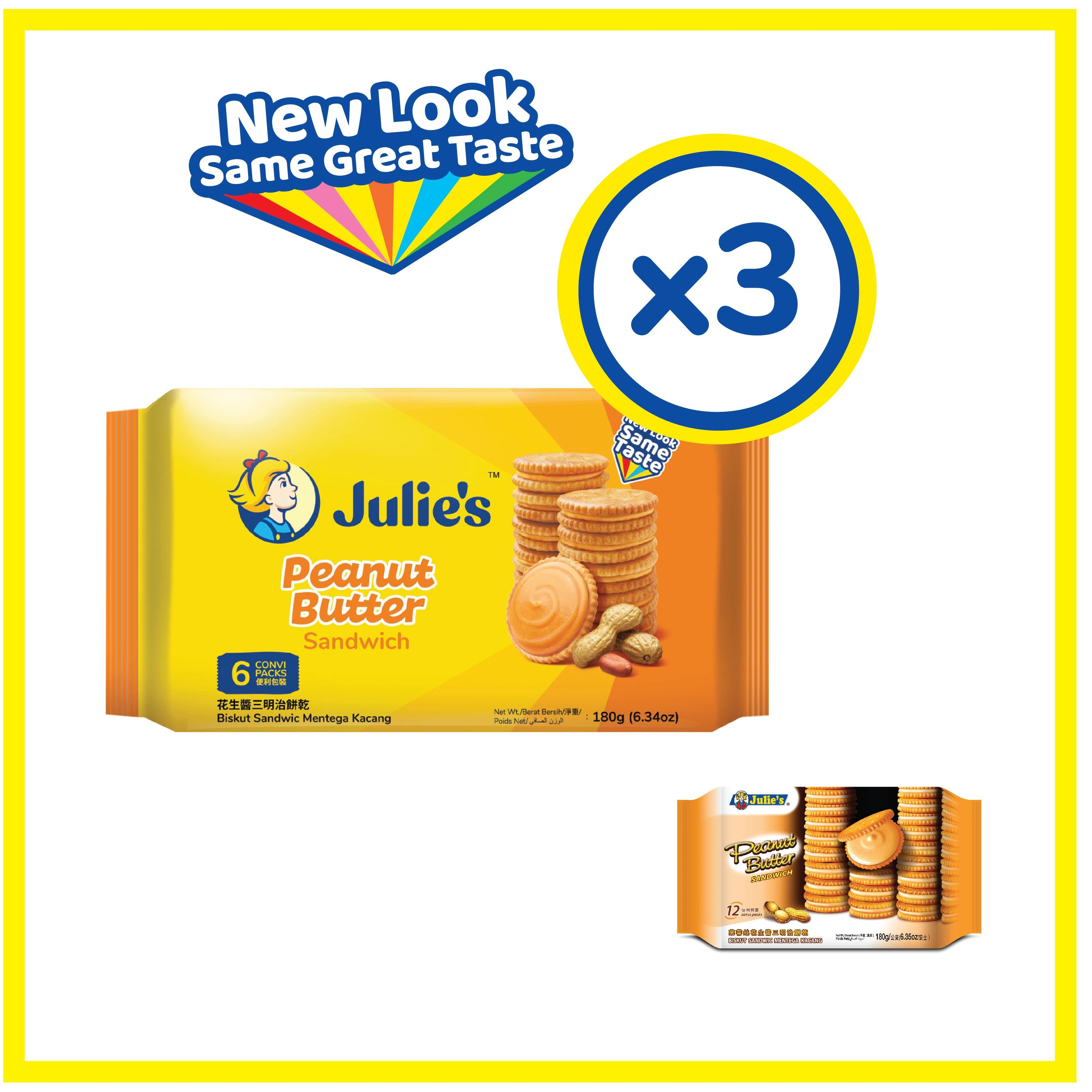 Julie's Peanut Butter Sandwich 180g x 3 Pack