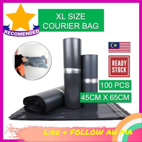Best Selling [ LOCAL READY STOCK BEST PRICE] XL Water Proof Courier Plastic Bag Flyer 45cm X 65cm 100pc per pack Black Beg Kurier Pos Hitam Postage Parcel Bag Consignment Plastic Bag With Strong Sticker Sealing Logistic Shipping Water Resistant