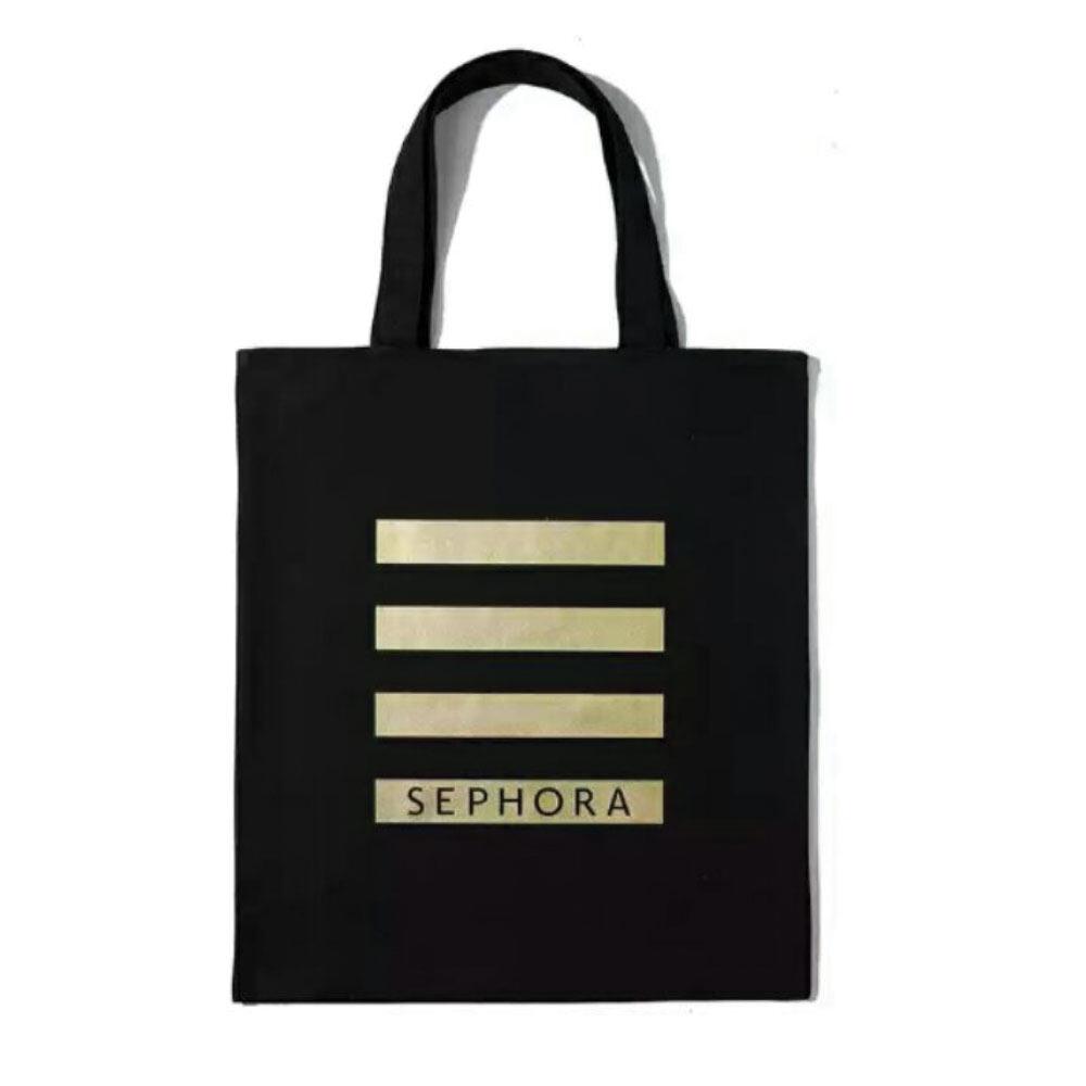 Poly-Pac TO2065 Gold Stripe Top Handle Shopper Tote Bag-Black