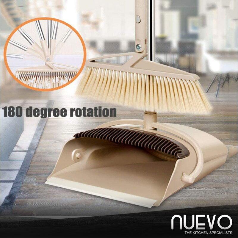 Broom and Dustpan Set, 180° Rotating Windproof Long Comb Teeth Soft Hair Magic Broom Household Dust Pan and Broom