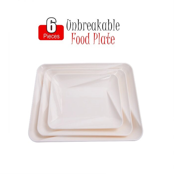 HAIRperone Unbreakable Food Grade Square/Snack / Chat Plate Dahi Bhalla Snacks 6 Pcs Set