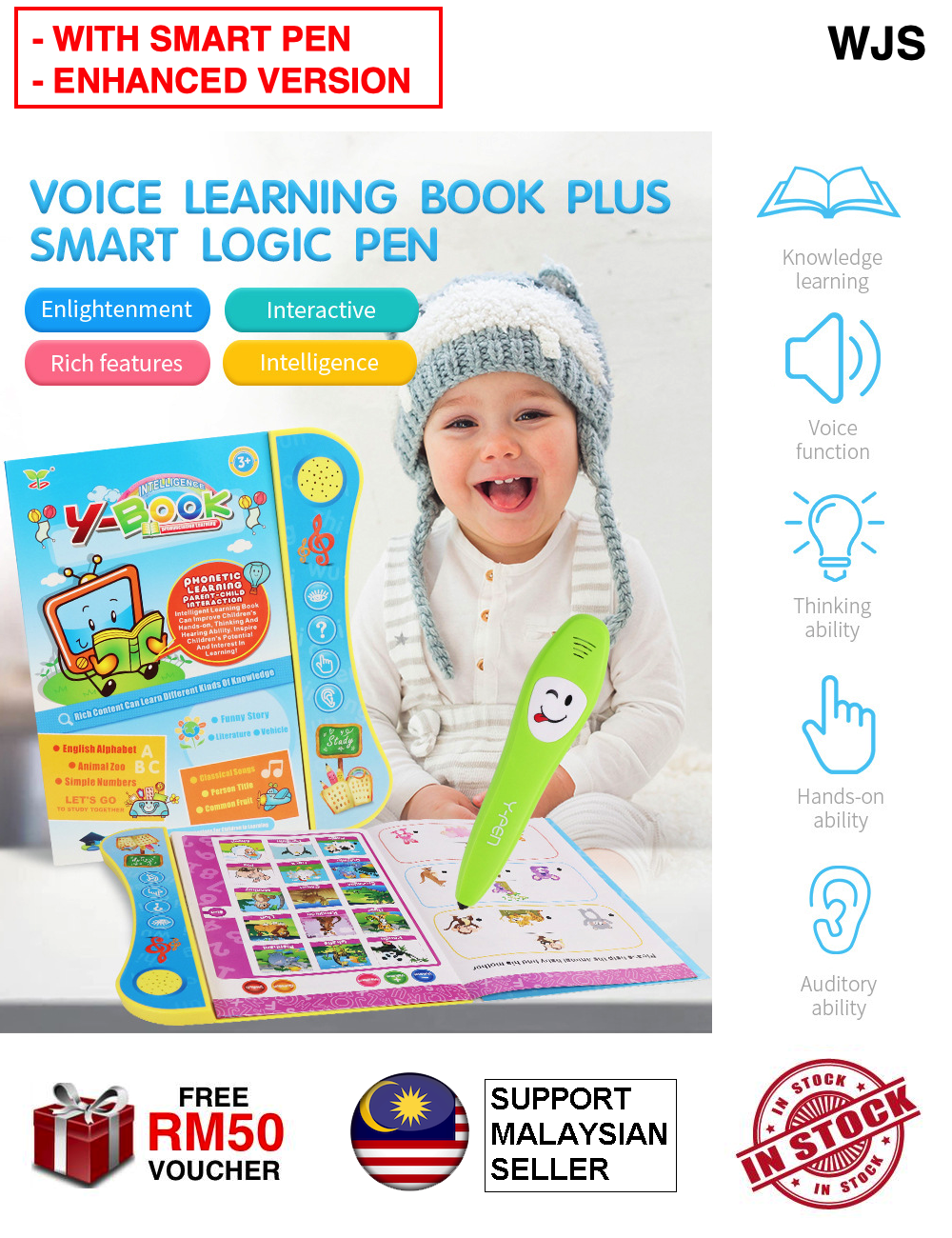 (WITH SMART PEN) WJS Kids Intelligent Y Book + Logic Pen Kids Baby English Learning Ebook E-Book Y-Book Tablet Touch Pad Early Learning Book Learn English Music Book Komputer Kanak-Kanak [FREE RM 50 VOUCHER]