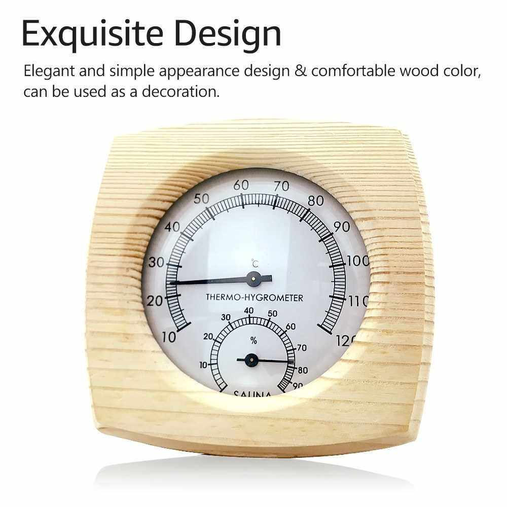 Wooden Temperature Humidity Meter Mechanical Temperature and Humidity Meter Hygrothermograph Thermometer Hygrometer Temperature and Humidity Monitor for Sauna Room Hotel House S1018 (Standard)