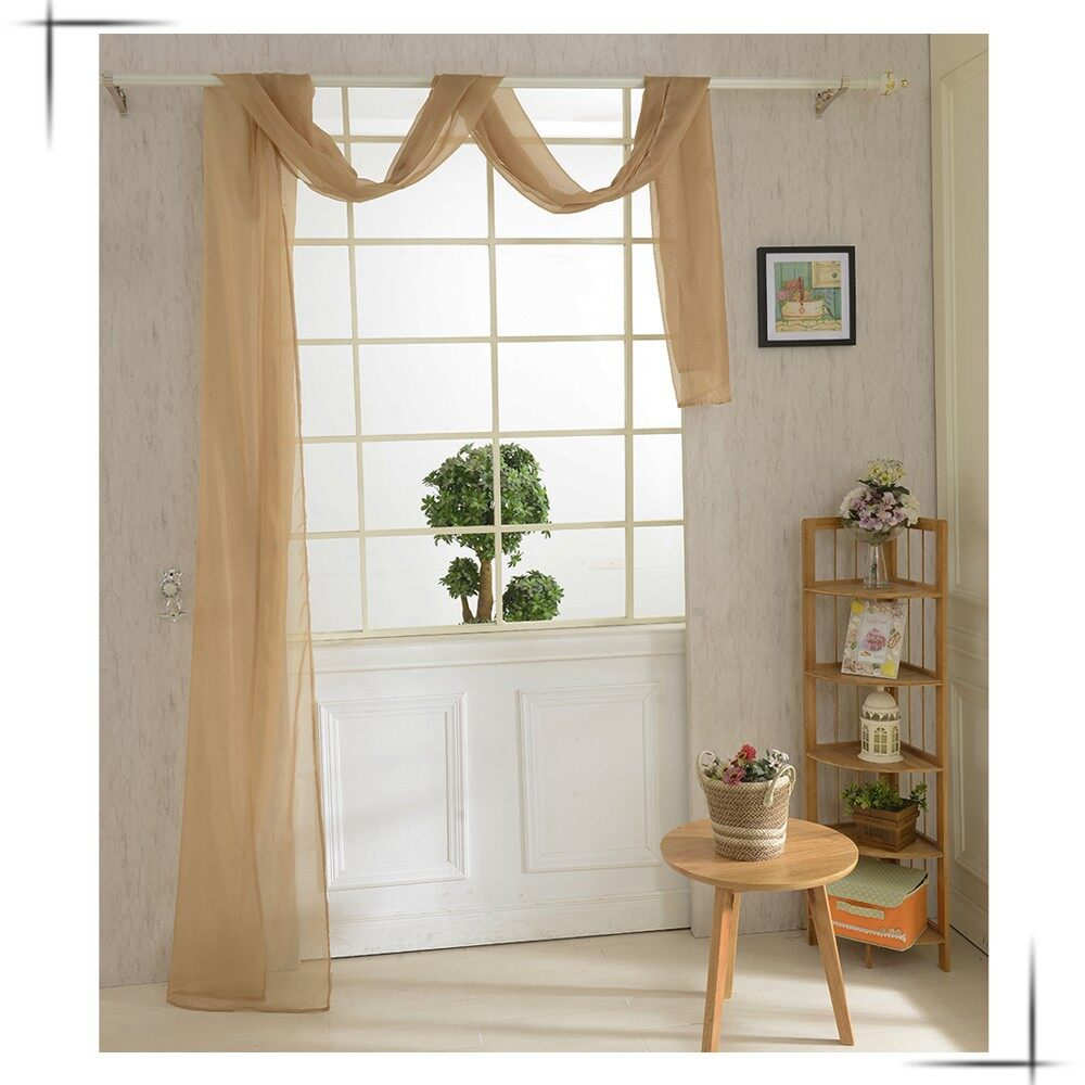 Curtains & Blinds - 82550cm Pure Color Voile Door Window Curtain - RED / WHITE / BLUE / PINK / GREEN / PURPLE / BLACK / YELLOW / CAMEL