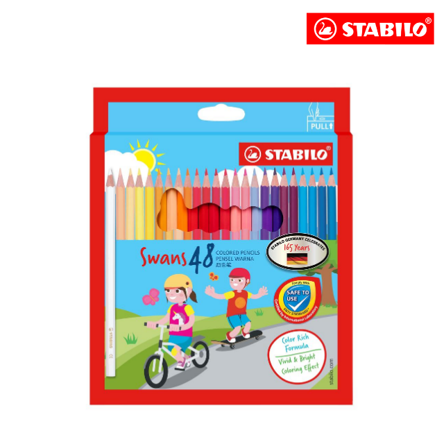 **SPECIAL EDITION** STABILO® Swans Colored Pencils Safe to Use Smooth Colouring Vivid Colors for Children (48 colours)