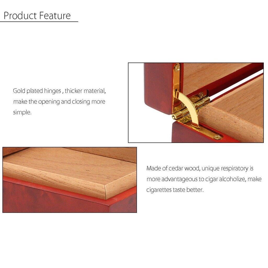 Gadgets - Brown Cedar Wood Lined Humidor Humidifier w/ Hygrometer Case Box 20 Cigar Luxury - Cool