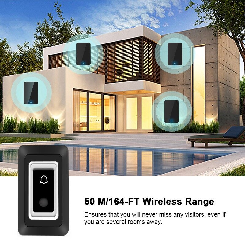 Mobile Cable & Chargers - 1V1 LED 3 Volume Dustproof WIRELESS Doorbell Remote Control Chime Bell - EU- / US- / AU- / UK