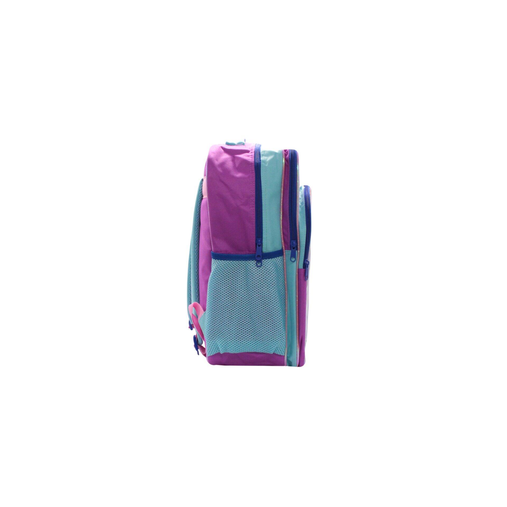 Disney Frozen 2 Princess Elsa Anna & Olaf Destiny Awaits With Front Zipper Pouch Kids Girls School Bag (Purple & Turqoise) Age 7 Years & Above