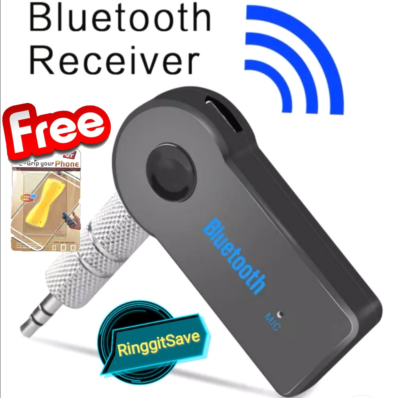 Wireless Bluetooth 3.5mm AUX Audio Stereo Music Home Car Receiver Adapter Mic Hands-Free Universal Car Kit With Free Gift