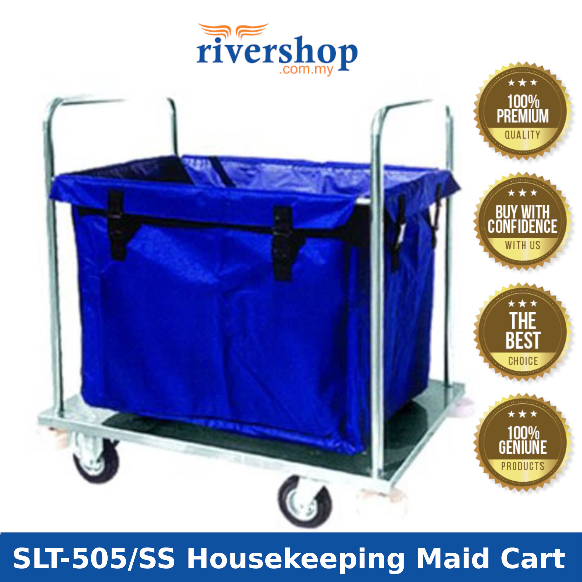 Multi-Purpose Stainless Steel Soiled Linen Cart Trolley SLT-505/SS / Hotel Housekeeping Trolley Maid Cart