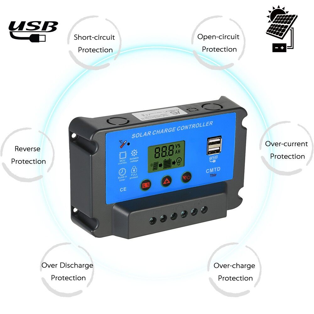 Vacuum - Anself 12V/24V Solar Charge Controller with LCD Display Auto Regulator Timer - BLACK-30A / BLACK-20A / WHITE-20A / BLACK-10A / WHITE-10A