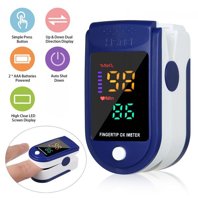 【New arrival & 100 Original】4 Color LED GOGOTECH Portable Finger Oximeter Fingertip Pulsoximeter Home family Pulse Blood Oxygen Saturation Monitor With Heart Rate Spo2 PR Pulse Oximeter