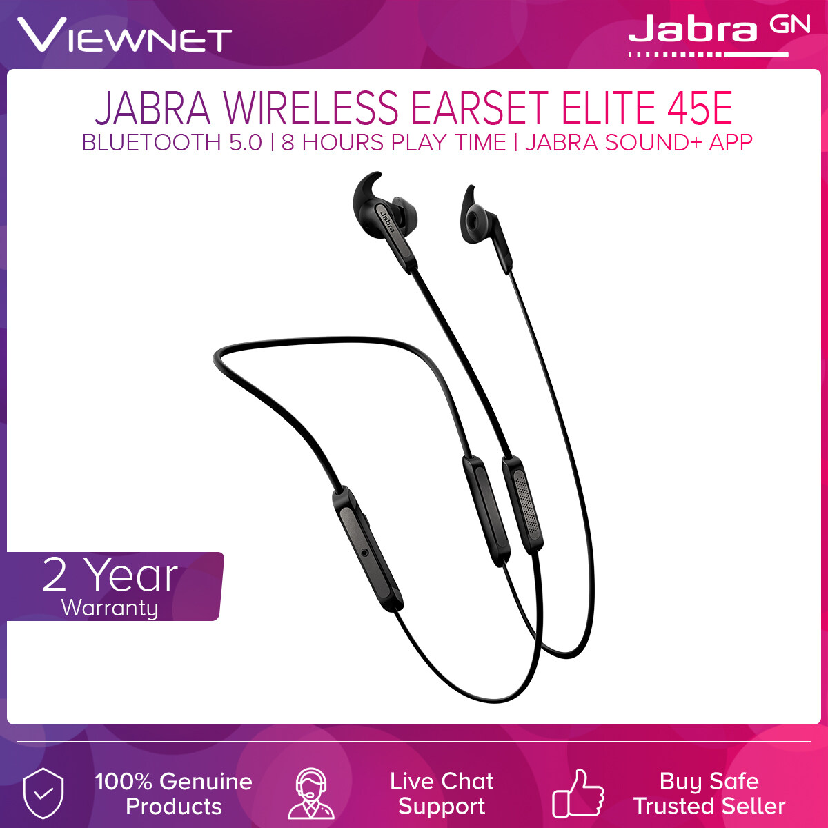Jabra Wireless Headset Elite 45E with Bluetooth 5.0 Connection, Jabra Sound+ App Support, 8 Hours Play Time, IP54 Rated Dust Resistant and Water Splashes