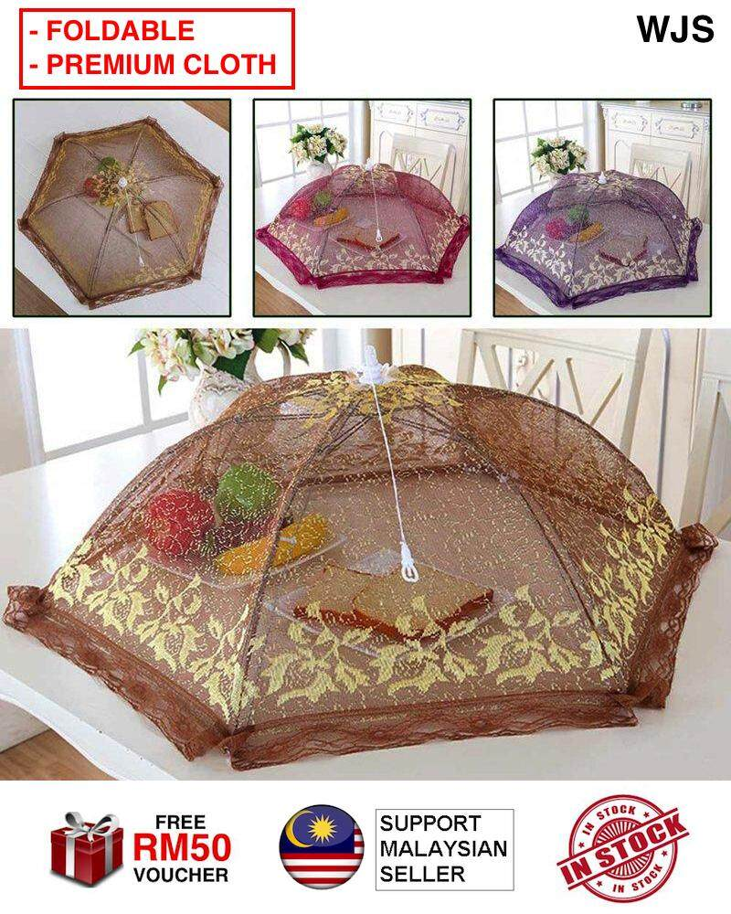 (FOLDABLE + LARGE) WJS Classy Premium Table Cloth Food Cover Umbrella Style Foldable Hexagon Gauze Mesh Food Covers Table Cover Kitchen Tools Food Close Food Domes Prevent Fly BROWN RED [FREE RM 50 VOUCHER]