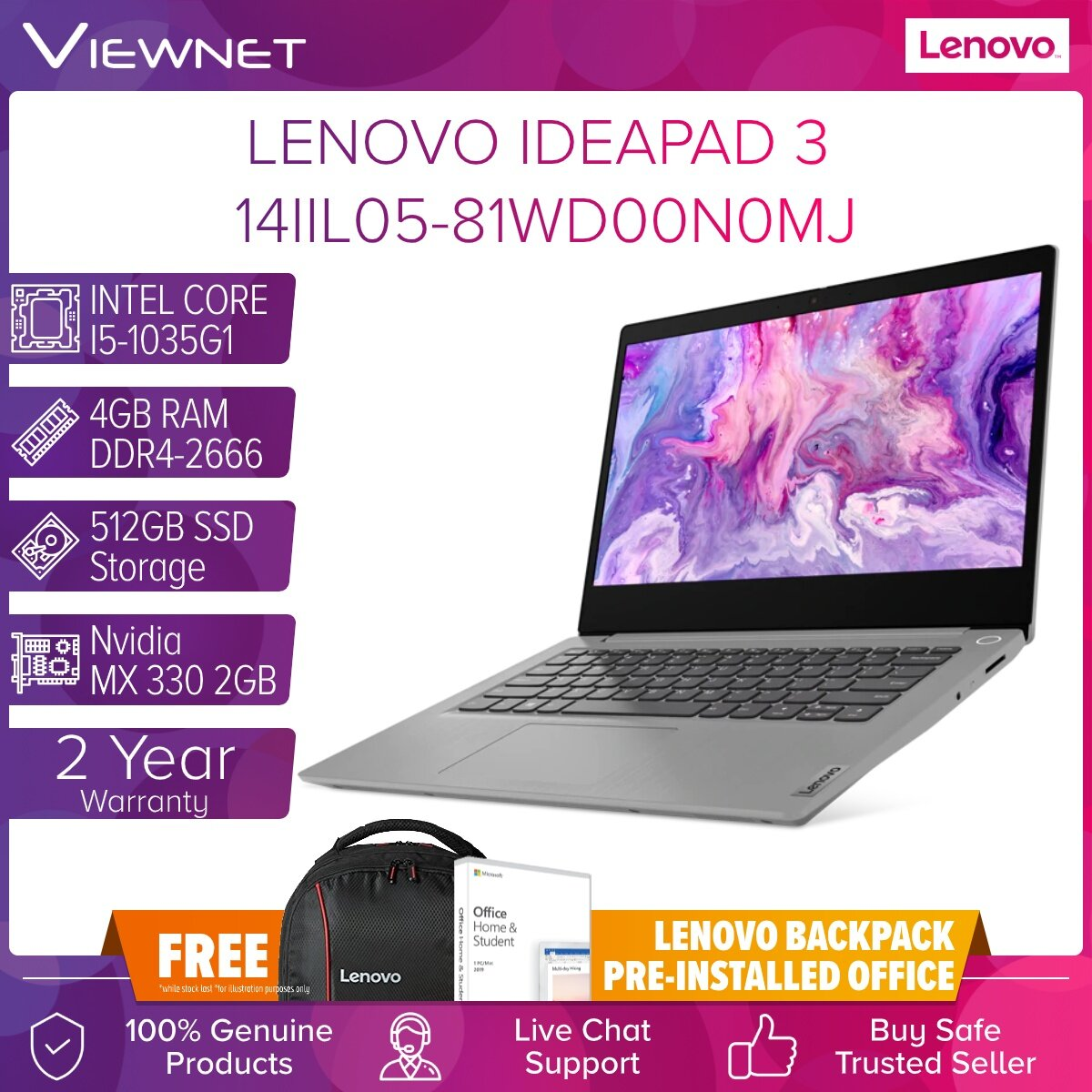 LENOVO IDEADPAD 3 14IIL05 81WD00N0MJ 81WD00N1MJ 81WD00N2MJ LAPTOP INTEL CORE I5-1035G1 4GB DDR4 512GB SSD M.2 PCIE MX330 2GB 14.0