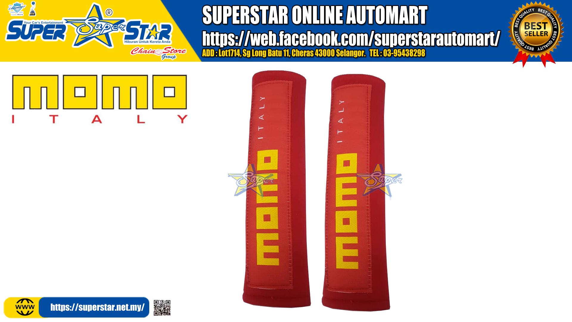 MOMO Seat Belt Seat Belt Shoulder Cushion Safety Belt Cover 2 Inch Race Car With Sponge Cushion (Red)