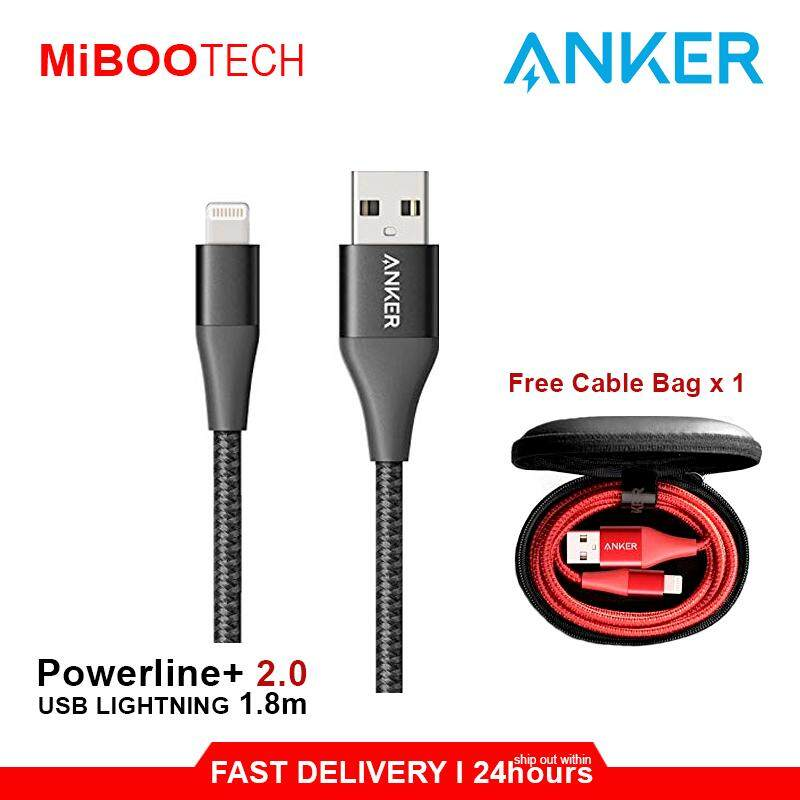 [Miboo] Anker MFI For IPhone Fast Charger POWERLINE+ 2 (1.8M) Lightning Cable Special Born For IPhone IPad iPod - 1.8m
